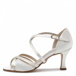 Chaussures de mariée satin blanc Juillet-NUEVA EPOCA