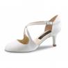 India LS NUEVA EPOCA - Chaussures de Mariage Fermée en Satin Blanc cuir extérieur