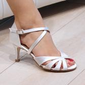 PARIS Nueva Epoca - Chaussure de danse Satin Blanc Semelle cuir Extérieur