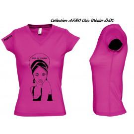 Tee Shirt JERSEY Fushia FEMME Personnalisé : MODE AFROCHIC