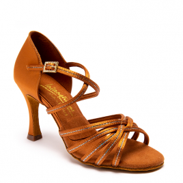 Chaussures latines Satin chair et brillants FLAVIA-IDS