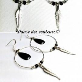 Créoles Argent Boho chics Collection Noir et Blanc
