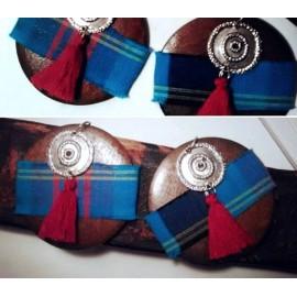 Boucles Créoles en bois tissu wax et graine rouge exotique