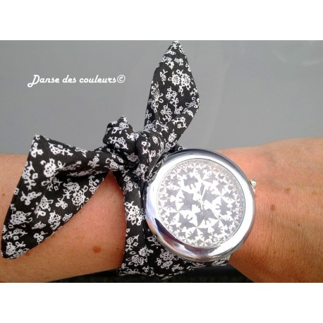 montre bijou bracelet tissu coton nouer motifs noirs et. Black Bedroom Furniture Sets. Home Design Ideas