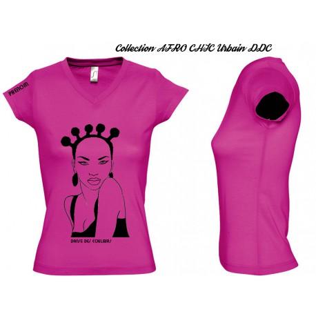 Tee Shirt Coton Rose FUSHIA FEMME Personnalisé MODE AFRO 'Black BROCCOLI'