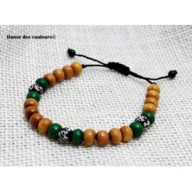 BRACELET MIXTE pour Homme ou Femme: perles bois naturel et pierres vertes