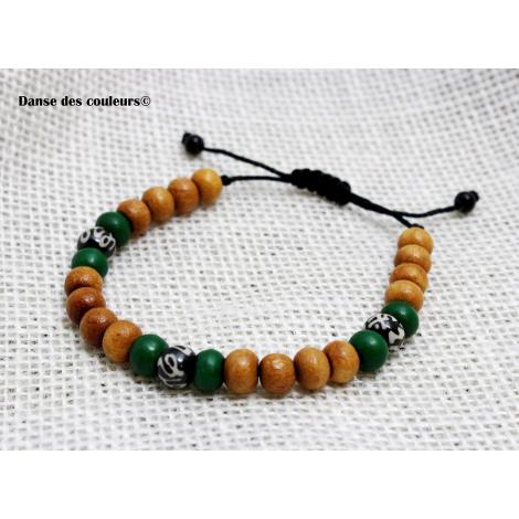 bracelet mixte pour homme ou femme perles bois et corne pierres. Black Bedroom Furniture Sets. Home Design Ideas