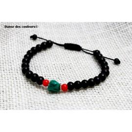 BRACELET MIXTE pour Homme ou Femme: perles bois pierres vertes