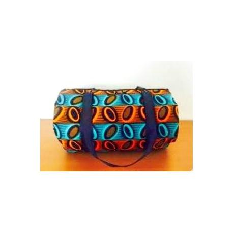 SAC ROND Ethnique en tissu WAX orange et bleu
