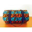 SAC ROND Ethnique en tissu WAX turquoise orange