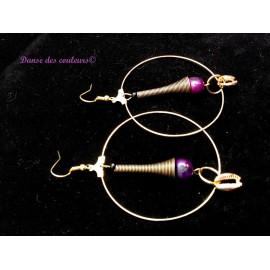 Boucles Créoles végétales dorées violettes