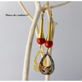 Boucles cône Etnik chic bronze perle irisée orange: goutte dorée