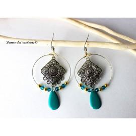 Créoles Argent Boho chics Orient Turquoise