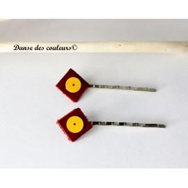 LOT de 2 : Barrettes à cheveux en cuir textile à imprimés Ethniques