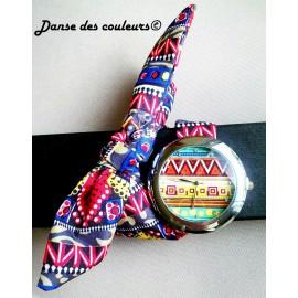 Montre bracelet tissu WAX oranger vert à nouer - REALISE SUR COMMANDE