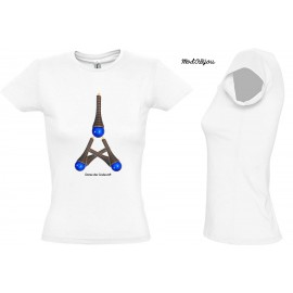 Tee Shirt Coton Blanc/Gris FEMME 'BLUE TOWER'