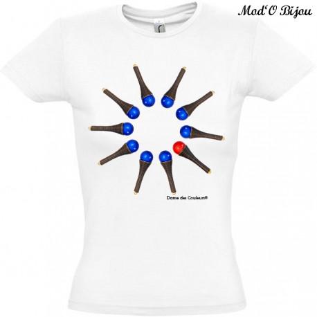 Tee Shirt Coton Blanc/Gris FEMME 'Be U'