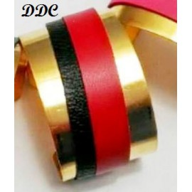 Bracelet Manchette or Chic&Choc cuir: version rouge