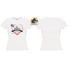 """Tee Shirt Coton GRIS/BLANC FEMME: """"Meilleure maman de l'année"""""""
