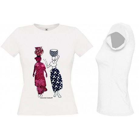 Tee Shirt BLANC FEMME Personnalisé: African style