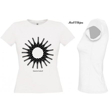 Tee Shirt BLANC FEMME Personnalisé: BLACK AND WHITE SUN