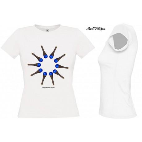 Tee Shirt BLANC FEMME Personnalisé: BLUE SUN2