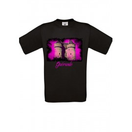 Tee Shirt NOIR : La porte Saint Michel Fushia