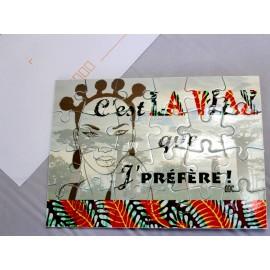 CARTE PUZZLE imprimée: C'EST LA WAX Savane