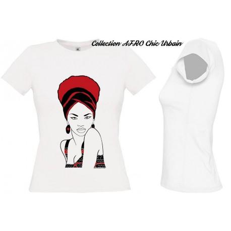 Tee Shirt Femme Africaine TURBANISTA Rouge
