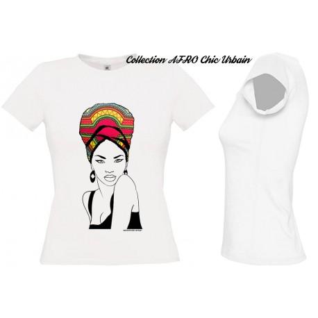 Tee Shirt Femme Africaine DASHIKI Rouge