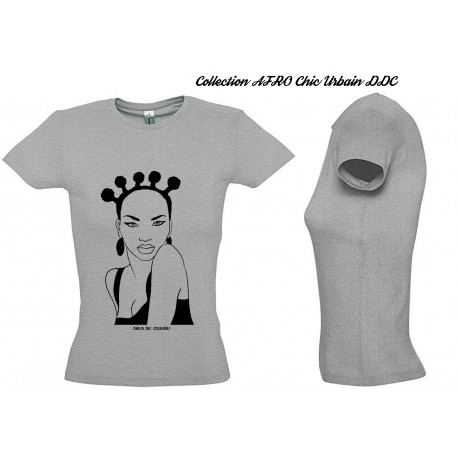 Tee Shirt Coton BLANC  FEMME Personnalisé MODE AFRO 'Black BROCCOLI'