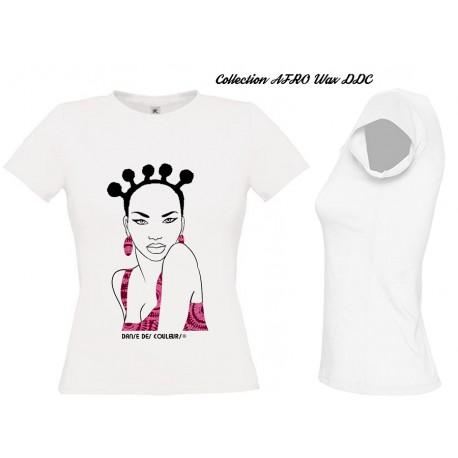 Tee Shirt Femme AFRO CHIC WAX Bordeaux